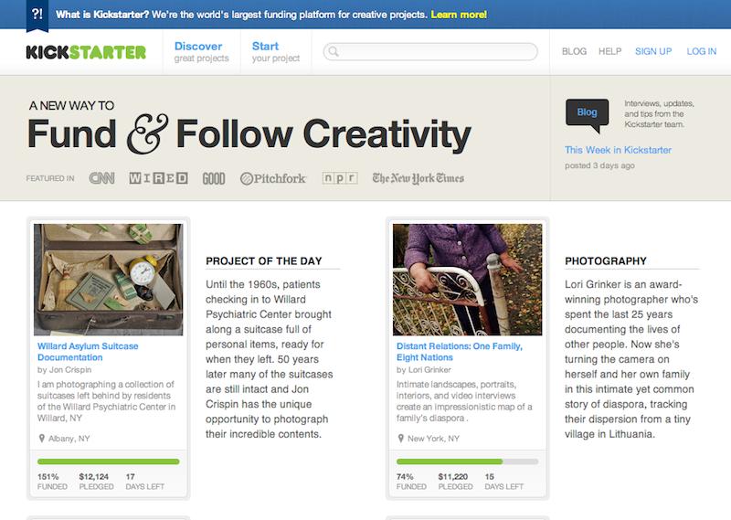 Проект для поиска средств для финансирования творческих идей KickStarter